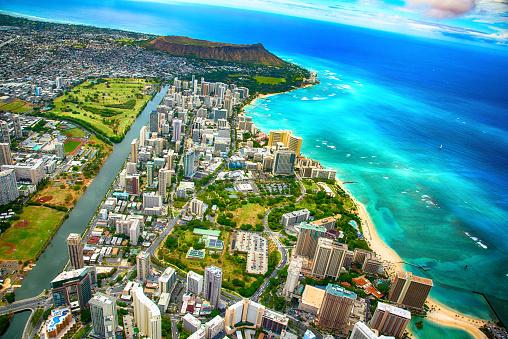 オアフ島「ハワイのホノルルの広角アンテナ」:スマホ壁紙(14)