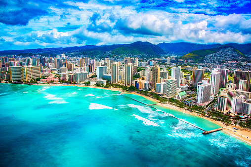 Water's Edge「Wide Angle Waikiki Beach Aerial」:スマホ壁紙(7)