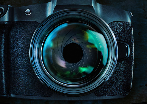 Iris - Eye「Wide angle closeup of camera and lens, showing open aperture ring」:スマホ壁紙(9)
