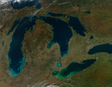 Great Lakes「Satellite view of the Great Lakes, USA.」:スマホ壁紙(10)