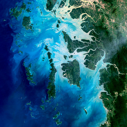 Indian Ocean「Satellite view of the Mergui Archipelago showing Auckland and Whale Bays.」:スマホ壁紙(17)