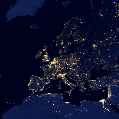 Planet Earth「Satellite view of city lights in several European and Nordic cities.」:スマホ壁紙(19)
