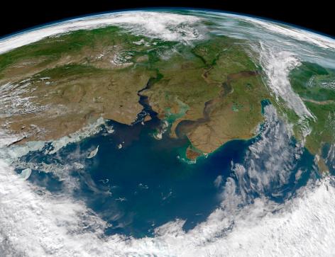 北極「Satellite view of the Ob and Yenisei rivers as they carry sediments into the Kara Sea.」:スマホ壁紙(9)
