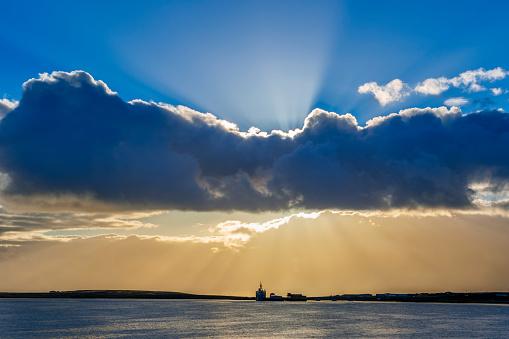 Falkland Islands「Ships at the dock at sunset」:スマホ壁紙(0)