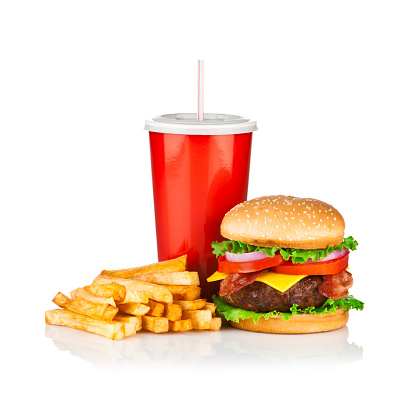 Bacon「Take Out Food, Classic Cheeseburger Meal isolated on white」:スマホ壁紙(10)
