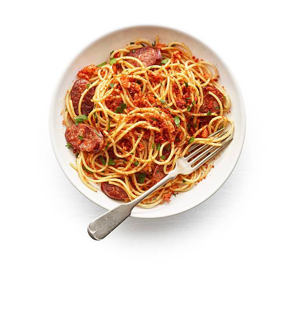 Spaghetti with chorizo & toasted paprika bread c:スマホ壁紙(壁紙.com)
