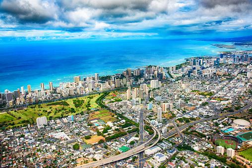 ハワイ ビーチ「ホノルル広角航空」:スマホ壁紙(18)