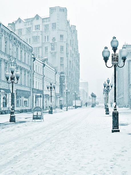 Arbat winter street, Moscow, Russia:スマホ壁紙(壁紙.com)