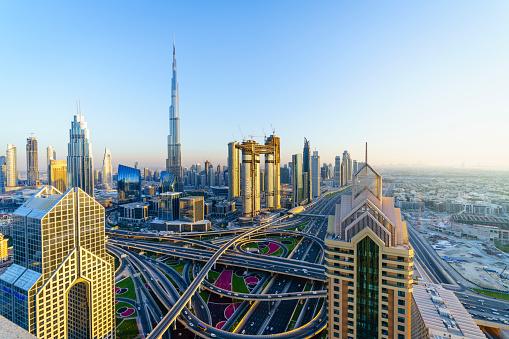 Sheikh Zayed Road「Dubai skyline with Burj Khalifa and road intersection」:スマホ壁紙(12)
