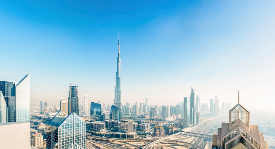 Burj Khalifa「Dubai skyline down town district cityscape」:スマホ壁紙(6)