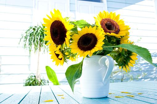 ひまわり「Sunflowers in vase」:スマホ壁紙(7)