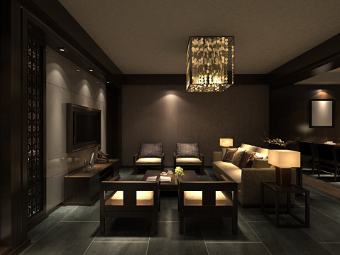 Hotel Room「Chinese Living Room Interior」:スマホ壁紙(2)