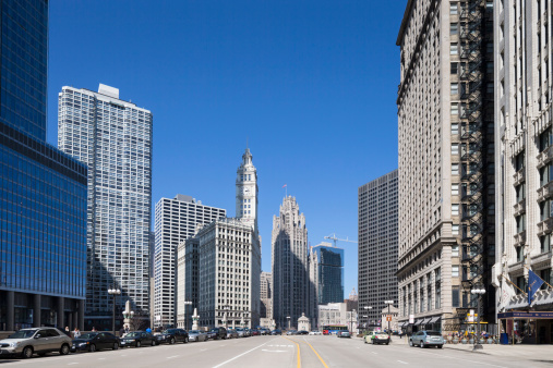 Tribune Tower「United States, Illinois, Chicago, View of Wrigley Building and Tribune Tower」:スマホ壁紙(17)