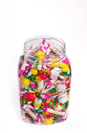 Sweet Food「Jar of sweets from above on white background」:スマホ壁紙(5)