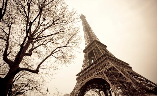 20th Century Style「The Eiffel Tower in France shot from below 」:スマホ壁紙(5)