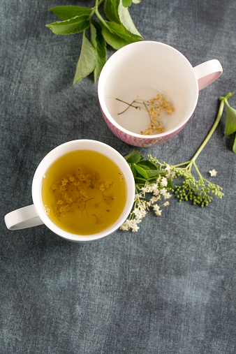 Gray Background「Elderberry tea in tea cup and elderflower」:スマホ壁紙(12)