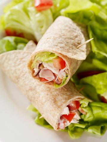 Tortilla - Flatbread「Club Sandwich Wrap with Garden Salad」:スマホ壁紙(5)