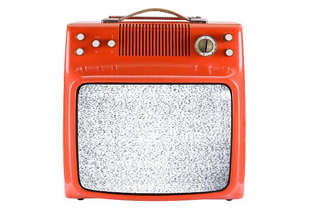 Front of an old orange TV with interruption:スマホ壁紙(壁紙.com)