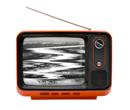 Push Button「Front of an old retro orange television isolated on white」:スマホ壁紙(8)
