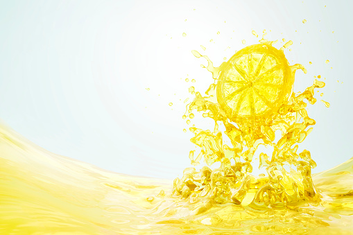 Lemon - Fruit「Slice of lemon splashing into lemon juice」:スマホ壁紙(1)