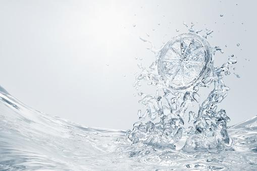 Drinking Water「Slice of lemon splashing into water」:スマホ壁紙(19)