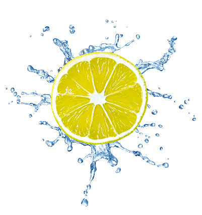 Cross Section「Slice of lemon with water splash in front of white background」:スマホ壁紙(2)