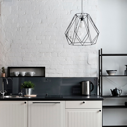 Cabinet「White and black domestic kitchen」:スマホ壁紙(11)
