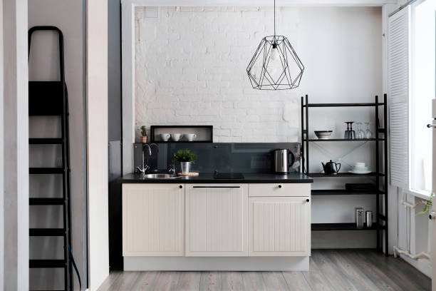 White and black domestic kitchen:スマホ壁紙(壁紙.com)