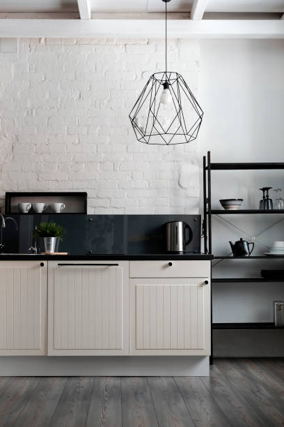 White and black domestic kitchen:スマホ壁紙(壁紙.com)