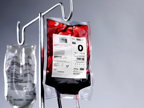 Saline Drip「Blood bag and saline drip on hospital stand」:スマホ壁紙(3)