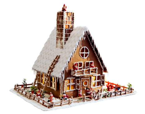 Gingerbread Cookie「Gingerbread house on white background, close-up」:スマホ壁紙(12)