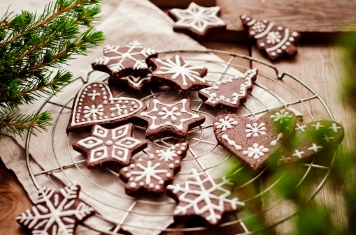 Gingerbread Cookie「Gingerbread decorated with sugar icing on cooling rack」:スマホ壁紙(17)