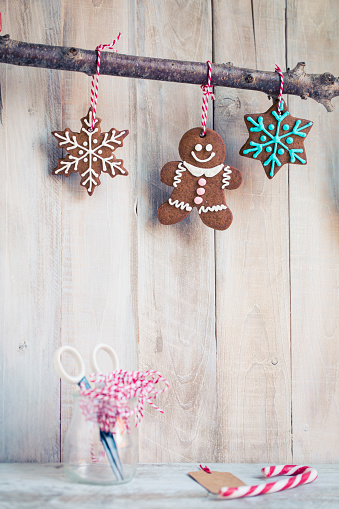 Cookie「Gingerbread cookies hanging on a branch」:スマホ壁紙(1)