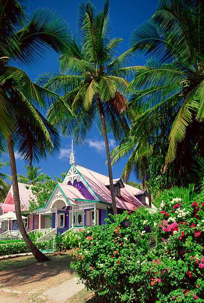 Gingerbread-style shops in Mustique, St. Vincent, Windward Islands:スマホ壁紙(壁紙.com)