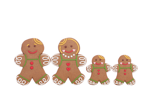 Gingerbread Man「Gingerbread family isolated on white」:スマホ壁紙(11)