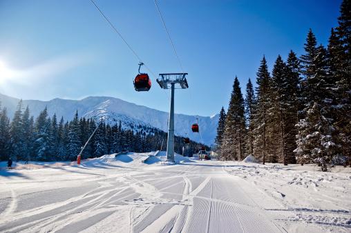 スキー「スキーコースとオーバヘッドケーブルカー」:スマホ壁紙(16)