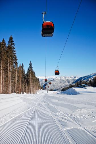 Ski Resort「Skiing track and overhead cable cars」:スマホ壁紙(0)