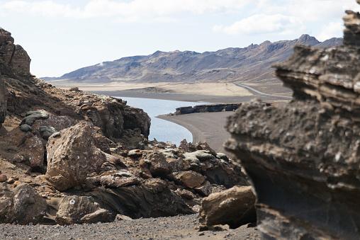 火山岩「Iceland, Reykjanes, Kleifarvatn」:スマホ壁紙(12)