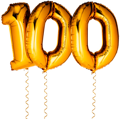 Number 100「Gold balloons in the shape of a number 100」:スマホ壁紙(12)