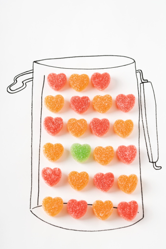 グミ・キャンディー「Candy hearts in drawing of canister」:スマホ壁紙(0)