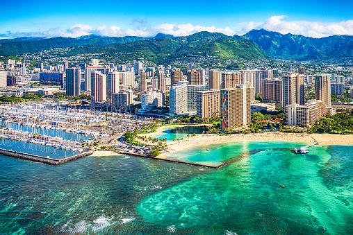 Island「Honolulu Cityscape Aerial」:スマホ壁紙(8)