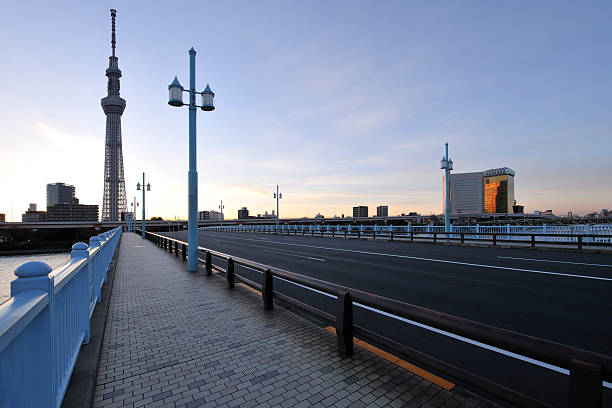 Tokyo Sky Tree and Kototoi Bridge at sunrise:スマホ壁紙(壁紙.com)