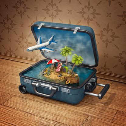 南国「スーツケースの島でのバケーション」:スマホ壁紙(16)