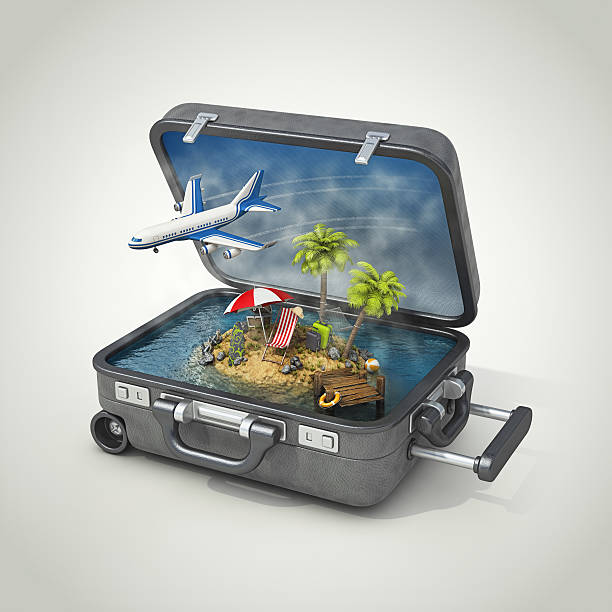 vacation island in suitcase:スマホ壁紙(壁紙.com)