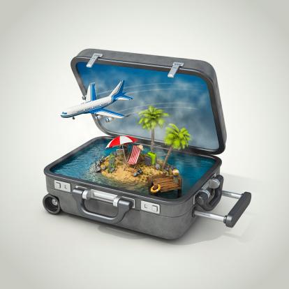 島「スーツケースの島でのバケーション」:スマホ壁紙(8)