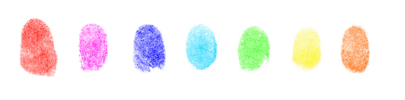 Security System「Colorful Art Paint Isolated Fingerprint On White Background」:スマホ壁紙(5)