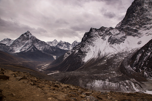 Khumbu「View to the east from Dzongla across glacial river with Himalayan Peaks, Everest Base Camp via Gokyo Trek, Nepal」:スマホ壁紙(12)