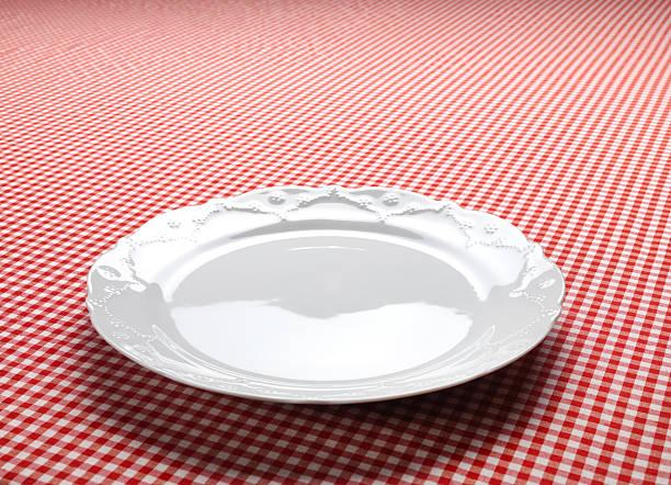 Empty Dish On The Checkered Tablecloth:スマホ壁紙(壁紙.com)