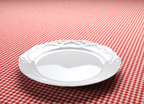 Meal「Empty Dish On The Checkered Tablecloth」:スマホ壁紙(2)