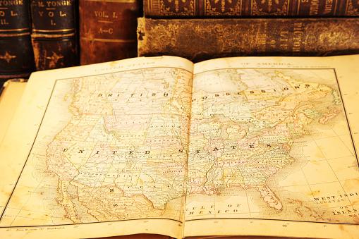 世界地図「クローズアップにヴィンテージ Map of USA」:スマホ壁紙(17)